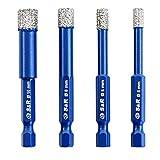 S&R Diamantbohrer, Fliesenbohrer, Glasbohrer Set 4-tlg. 5, 6, 8, 10 mm, Sechskant-Schaft, für Keramik, Granit, Glas, Porzellan, Fliesen