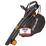 DELTAFOX Elektro Laubbläser Laubsauger - DG-ELB 3014-3000 W - inkl. 40ltr Fangsack - Tragegurt - Blasgeschwindigkeit bis 270 km/h - hohe Saugleistung - leaf blower - garden vacuum