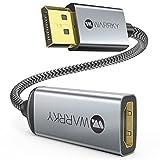 DisplayPort auf HDMI Adapter, 4K [Vergoldete, Geflochten, Aluminiumhülse], WARRKY Unidirektional DP auf HDMI Konverter Kampatibel für Monitor, HDTV, Projektor, Laptop, PC, AMD, NVIDIA, Mehr