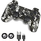 PS3 Controller, Controller PS3, Wireless Controller für PS3, Double Shock 6-Achsen Joystick kompatibel für Playstation 3, Ergonomisches Gamepad mit Mini-B Kordel und Daumengriffen (Camouflage Grey)