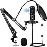 Nimaso USB Mikrofon,192kHZ/24bit PC Mikrofon,Podcast Mikrofonset mit Mikrofonständer,Shock Mount,Windschutz,Popfilter für Rundfunk, Aufnahme,YouTube,Podcast,Gaming