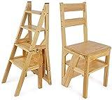 XITER Stufenleitern Moderne Möbel Klappleiter Regal Holzklappleiter Fold Up Bibliothek Stufen Leiter Küche Büro-Gebrauch Klapptritte (Farbe: schwarz) (Farbe : Natural)