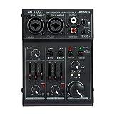 ammoon Mischpult • DJ-Mixer • 2-Kanal Mischpult • DJ-Mischpult • USB-Port • intergrierter Verstärker • Mikrofonsektion • 48V Phantom Power • Schwarz