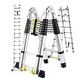 Teleskopleiter Klappleiter 5M (2,5M+2,5M) mit stabilisator und 2 Rollen, EN131-zertifizierte Ausziehleiter 150 kg Belastbarkeit