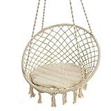 Hängesessel zum Aufhängen - mit rundem Sitzkissen - Weiß Beige - Belastbarkeit max. 100 kg