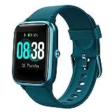 YONMIG Smartwatch, Fitness Armband Tracker Voller Touch Screen Uhr IP68 Wasserdicht Armbanduhr Smart Watch mit Schrittzähler Pulsmesser Stoppuhr für Damen Herren Sportuhr für iOS Android (Blau)