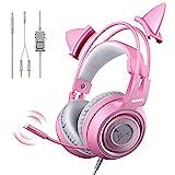 SOMIC G951S Rosa Gaming-Headset mit Mikrofon, Mädchen Frauen Rosa Katze Ohr-Kopfhörer mit 3,5-mm-Kabel für Xbox One, Nintendo-Switch, PS4, iPhone, iPad