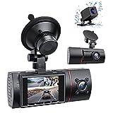 RaMokey 3 Lens Dashcam WDR HD 1080P Autokamera mit IR Nachtsicht 170° Weitwinkelobjektiv Auto Dashcam mit Akku für Loop-Aufnahme G-Sensor Parküberwachung und Bewegungserkennung Hitzebeständig