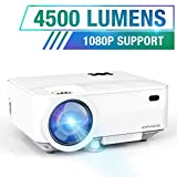 HOPVISION Mini Beamer 1080P Full HD,4500 Lumen Video Beamer mit Maximalem 180'' Display,60000...