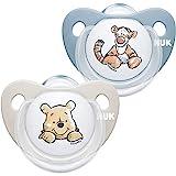 NUK Trendline Schnuller | 0-6 Monate | BPA-freier Schnuller aus Silikon | Disney Winnie Puuh | Blau (Junge) | 2Stück