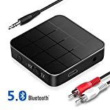 Bluetooth Adapter 5.0 Empfänger Transmitter, 2 in 1 Bluetooth Sender Receiver Low Latency HD Bluetooth Audio Adapter mit RCA & 3.5 mm AUX kompatibel, für TV PC Kopfhörer autsprecher Auto Radio