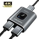 HDMI Switch HDMI Splitter,GANA Aluminium HDMI Switcher Bidirektionaler 2 In 1 Out oder 1 In 2 Out Manueller HDMI Umschalter unterstützt HD 4K 3D für HD TV/Fire Stick/Xbox/PS3/PS4