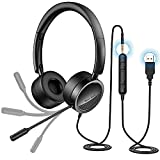 PC Headset mit Mikrofon New Bee USB/3,5mm Business Headset Noise Cancelling & Klare Stereo-Sound...