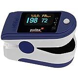 Pulsoximeter PULOX PO-200A mit Alarm, Pulston und automatisch drehbarem Display blau zur Messung der Blutsauerstoffsättigung SpO2 und Puls