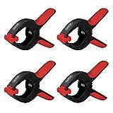 Nirox 4x Federklemmen im Set - Klemmzwingen mit großer Spannweite - hohe Spannkraft der Federzwinge - Leimzwingen mit beweglichen Backen - Spannklemmen