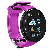 LZW Bluetooth Smart Watch Runde Uhr Sports Tracker wasserdichte Männer Und Frauen Fitness-Armband Kompatibel Mit Android Und IOS,Lila