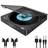 Gueray CD Player Tragbarer mit Doppelte Kopfhöreranschlüsse und Kopfhörer Discman mit Integrierte...