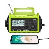 Kurbelradio DAB/UKW mit Akku 5000mAh, Tragbare Solar Radio mit LED Taschenlampe & Leselicht, DAB+...