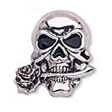 TENDYCOCO Gothic Punk Skull Bones Brooch Pin Stylish Skeleton Breastpin for Evening Party Costume (X1516, Silver)