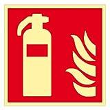 Brandschutzzeichen ' Feuerlöscher ' Folie nachleuchtend selbstklebend 200 x 200 mm