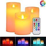 Flammenloses LED Kerzen, ALED LIGHT 3er Pack Warmweiß & Multicolor Echtwachs Kerze Lichter Elektrischer LED-Docht Flackernde Kerzenlichter Batterie Fernbedienung Timer für Weihnachten Ostern Hochzeit