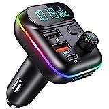 Cocoda FM Transmitter Auto Bluetooth, 38W Type-C PD+QC3.0 Aux Bluetooth Adapter Auto mit 9 Farben LED Backlit, KFZ Wireless Radio Adapter mit Stärker Mic/Freisprechen/Siri/Google Assistant/U Disk/TF