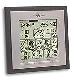 TFA Dostmann Eos Max Wetterstation, für Innen und Außen mit Funk Außensensor, 6 Tage Vorhersage von Meteorologen, Urlaubswetter, inkl Funkuhr, silber
