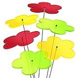 SUNPLAY 'Sonnenfänger-Blumen 6er Set - 2x Gelb, 2x Grün, 2x Rot - 6 Stück zu je 20 cm Durchmesser im Set + 70 cm Schwingstäbe