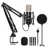 Kondensator Mikrofon, TONOR USB Nieren Computer Mikrofon Kit mit 24 mm Membran/verbessertem Mikrofonarmständer/Mikrofonspinne für Streaming, Aufnahme, Spiele, Podcasting, YouTube, TC-2030