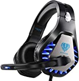 Gaming Headset für PS5 PS4 Xbox One PC Kopfhörer mit Mikrofon LED Licht Noise Cancelling Over Ear...