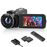 Videokamera 1080P Wlan, MELCAM Vlogging Kamera FHD 30FPS 36MP für YouTube, Streaming-Video Aufnehmen, Camcorder mit IR Nachtsicht, 3.0 '' IPS-Bildschirm, 16X Digital Zoom, Fernbedienung, Akkuladegerät