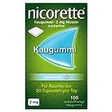 NICORETTE Kaugummi 2mg whitemint – Nikotinkaugummi zur Raucherentwöhnung – Zahnweißeffekt – Minzgeschmack – 2mg Nikotin