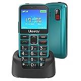 Uleway Seniorenhandy mit großen Tasten und Mobiltelefon ohne Vertrag,2,3 Zoll LCD|Hörgeräte kompatibel|SOS-Funktion |Dual SIM Handy |Taschenlampe und Ladestation