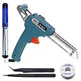 About1988 Manuelle automatische lötpistole,Automatisches Senden Zinnpistole werkzeug mit abnehmbarem Lötdrahthalter und Netz Schalter, Entlötpumpe für elektrischen Lötkolben (Blau)