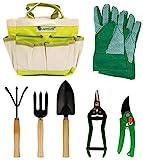 Lantelme Gartengeräte Set 7 teilig Gartenwerkzeug mit Tasche Gartenschere Gartenhandschuhe Schaufel Harke 5124