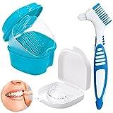 Prothesenbürste Set,Zahnspangenreiniger,zahnspangen reinigungsdose Aufbewahrungsbox,für Zahnspangen oder Zahnersatz reinigen und aufbewahren (blaue Zahnbürste)