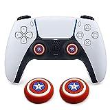 Dualsense Joystick-Kappe für Analog-Daumengriff, für kabellose Controller, Game-Fernbedienung, fantastische rutschfeste Silikon-Griff-Abdeckung für PS5/PS4/Xbox Onee/360/NS PRO (Captain America)