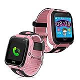 Multifunktionale Uhr für Mädchen mit LBS Locator - Kamera - LED-Taschenlampe - Touchscreen Telefon Uhr für Kinder - SOS-Funktion - Kinderuhr (Rosa)