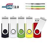 2GB USB Stick, SRVR 5 Stück Speicherstick USB-Flash-Laufwerk Mehrfarbig Memory Stick Datenspeicher USB 2.0 mit Kappe LED Anzeige Schlüsselband