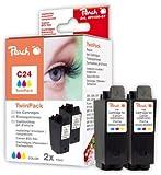 Peach Doppelpack Tintenpatronen color kompatibel zu Canon BCI-24 c