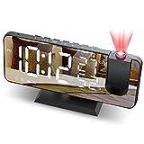 JIGA Wecker Digital Projektionswecker mit FM-Radio 7' LED Spiegelbildschirm Snooze Dual Alarm mit...