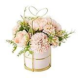 KIRIFLY Künstliche Blumen mit Vase,Unechte Blumen Deko Künstlich Pfingstrose Seide Hortensien Dekoration Blumenarrangements Hochzeit Blume Tischdekoration(Rosa mit Vase)