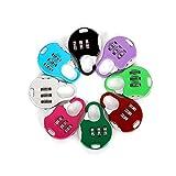 Aibada Mini-Vorhängeschloss, 3-stellig, zurücksetzbar, Kombination, Reisegepäck, Koffer, zufällige Farbe, 6 Stück