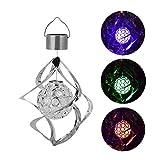 TOMMY LAMBERT Solar-LED-Licht, kreatives Windspiel mit rotierender Kristallkugel, farbwechselnde Hängeleuchte für den Außenbereich, Zuhause, Garten, Dekoration, Lampe