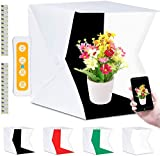 Fotobox, Fotozelt Lichtzelt 40x40 cm mit 3 Lichtfarben 140 LED Mini Mobiles tragbare Tischplatte...
