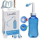 Lunata Nasendusche + 20x Nasenspülsalz, Dosierlöffel + 2x Aufsätze + Rezepte für Nasenspülungen, Nasenspülkanne, Nasenreinigung, Nasenspülung