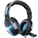 Gaming Headset Blau für PS4 PS5 Xbox one PC Switch Mac, 3D Surround Sound Kabelgebundenes PS4...