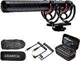 Comica CVM-VM20 Kamera Shotgun Mikrofon, Super-Kardioid Kondensor Video Mikrofon mit OLED Power Display & Low Cut Filter Modi, Externes Camcorder Mikrofon für Canon,Nikon,Sony DSLR-Kamera/Smartphone