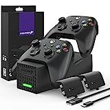 Fosmon Dual Controller Ladestation Kompatibel Mit Xbox Series X/S 2020 (Nicht Für Xbox One / 360) Controller, (Dual Slot) Docking Station Schnell Ladegerät und 2X Akku Batterien - Schwarz