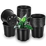 Pflanztöpfe, 30 Stück Anzuchttöpfe Blumentopf Kunststoff Blumentöpfe für Blumen und Pflanzen Anzucht Pflanztopf (Durchmesser 15cm, Schwarz)